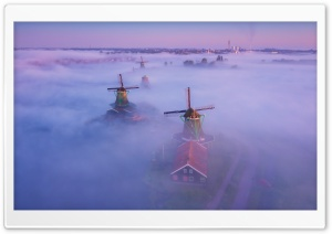 Netherlands Traditional Windmills Fog HD Wide Wallpaper for 4K UHD Widescreen desktop & smartphone