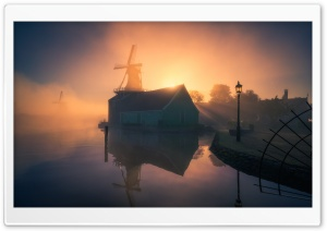 Netherlands Zaanse Schans Windmill Foggy Morning Ultra HD Wallpaper for 4K UHD Widescreen desktop, tablet & smartphone