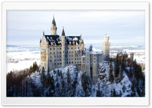 Neuschwanstein Castle in Germany, Winter HD Wide Wallpaper for 4K UHD Widescreen desktop & smartphone