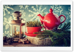 New Year 2017, Candle, Tea, Cinnamon, Fir Tree Branches HD Wide Wallpaper for Widescreen