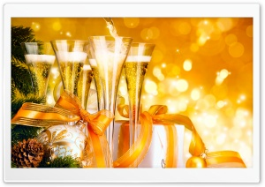 New Year Champagne HD Wide Wallpaper for 4K UHD Widescreen desktop & smartphone