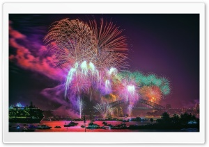 New Year Fireworks HD Wide Wallpaper for Widescreen