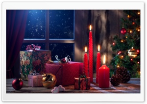 New Year Gifts, Christmas Tree, Red Candles, Cones, Balls HD Wide Wallpaper for Widescreen