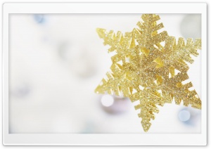 New Year Gold Snowflake HD Wide Wallpaper for Widescreen
