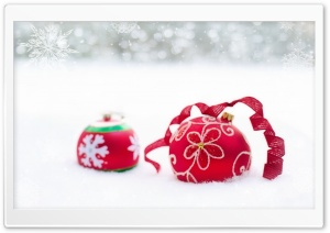 New Year Red Ornaments HD Wide Wallpaper for Widescreen