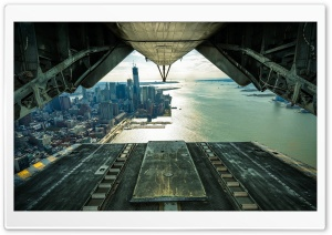 New York as Seen from an Aircraft HD Wide Wallpaper for Widescreen