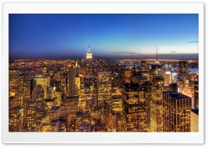 New York At Dusk HD Wide Wallpaper for 4K UHD Widescreen desktop & smartphone