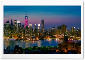 New York City At Night Lights HD Wide Wallpaper for 4K UHD Widescreen desktop & smartphone