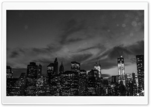 New York City Black And White At Night HD Wide Wallpaper for Widescreen