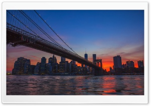 New York City, Brooklyn Bridge View HD Wide Wallpaper for Widescreen