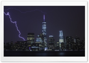 New York City Lightning HD Wide Wallpaper for Widescreen