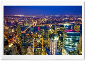 New York City, Manhattan at Night HD Wide Wallpaper for Widescreen