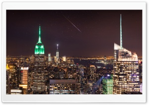 New York City, Night Sky, Shooting Star HD Wide Wallpaper for 4K UHD Widescreen desktop & smartphone
