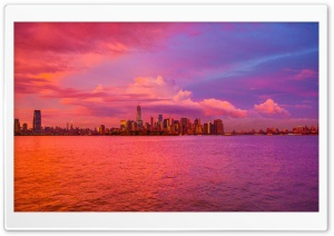 New York City Pink Sunset HD Wide Wallpaper for Widescreen