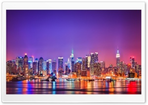 New York City Skyline at Night HD Wide Wallpaper for Widescreen