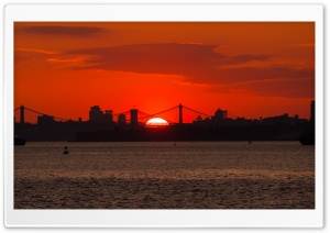New York City Skyline Sunrise HD Wide Wallpaper for Widescreen