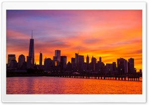 New York City Skyline Sunrise HD Wide Wallpaper for 4K UHD Widescreen desktop & smartphone