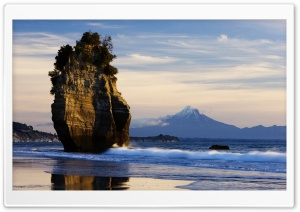 New Zealand Beach, Mount Taranaki View HD Wide Wallpaper for Widescreen