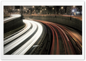 Night Highway   Long Exposure HD Wide Wallpaper for Widescreen