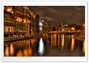 Night In Amsterdam HD Wide Wallpaper for 4K UHD Widescreen desktop & smartphone