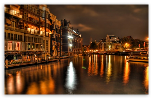 Night In Amsterdam ❤ 4K UHD Wallpaper for Wide 16:10 Widescreen WHXGA WQXGA WUXGA WXGA ;