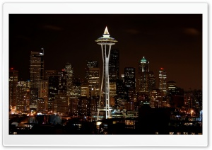 Night In Seattle HD Wide Wallpaper for 4K UHD Widescreen desktop & smartphone