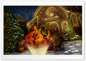Night Of Jesus Birth Ultra HD Wallpaper for 4K UHD Widescreen desktop, tablet & smartphone