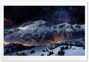 Night Sky Snow HD Wide Wallpaper for Widescreen