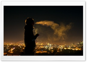 Night Smoker HD Wide Wallpaper for Widescreen