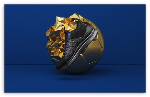 Nike Sports Shoes Cool Golden Ball Blue Background 4k