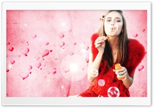 Nina Dobrev Blowing Bubbles HD Wide Wallpaper for Widescreen