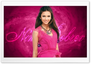 Nina Dobrev In Pink Dress HD Wide Wallpaper for Widescreen