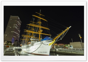 Nippon Maru, a Japanese museum ship, Yokohama harbor HD Wide Wallpaper for 4K UHD Widescreen desktop & smartphone