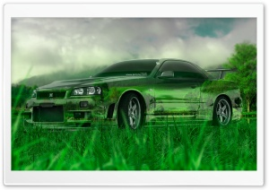Nissan Skyline GTR R34 Crystal Nature Car design by Tony Kokhan 2015 Ultra HD Wallpaper for 4K UHD Widescreen desktop, tablet & smartphone