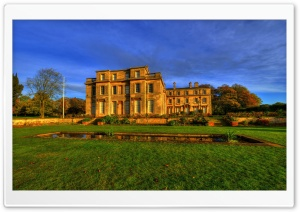 Normanby Hall, England, Grass, Pool HD Wide Wallpaper for 4K UHD Widescreen desktop & smartphone