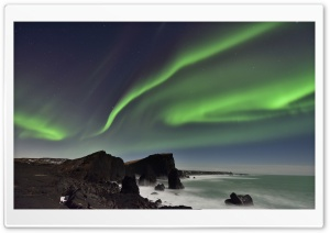 Northern Lights, Reykjanesskagi Peninsula, Iceland HD Wide Wallpaper for Widescreen