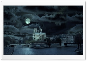 Notre Dame de Paris At Night HD Wide Wallpaper for Widescreen