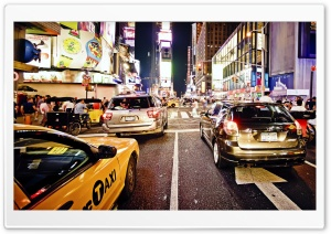 NYC Street at Night HD Wide Wallpaper for 4K UHD Widescreen desktop & smartphone