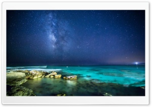 Ocean Night Sky HD Wide Wallpaper for Widescreen