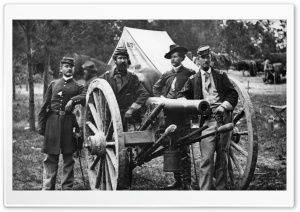 Officers And Cannon   Vintage Photography HD Wide Wallpaper for Widescreen