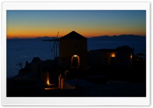 Oia at evening, Santorini, Greece HD Wide Wallpaper for Widescreen