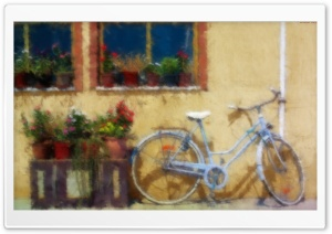 Old Bicycle Leaning Against A Wall HD Wide Wallpaper for Widescreen