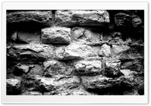 Old Brick Wall Black And White HD Wide Wallpaper for Widescreen