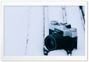 Old Camera, Snowy Bench HD Wide Wallpaper for Widescreen