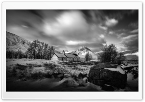 Old Cottage, Winter, Black and White Landscape Ultra HD Wallpaper for 4K UHD Widescreen desktop, tablet & smartphone