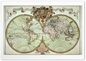 Old Global Map HD Wide Wallpaper for Widescreen