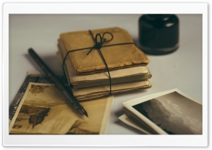Old Letters and Old Photos Kept, Pen, Ink Bottle Ultra HD Wallpaper for 4K UHD Widescreen desktop, tablet & smartphone