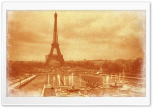 Old Photo Of The Eiffel Tower HD Wide Wallpaper for 4K UHD Widescreen desktop & smartphone