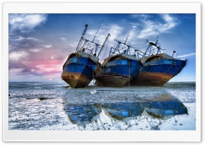 Old Ships On Coast HD Wide Wallpaper for 4K UHD Widescreen desktop & smartphone
