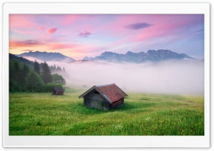 Old Wooden Hut on Alpine HD Wide Wallpaper for Widescreen
